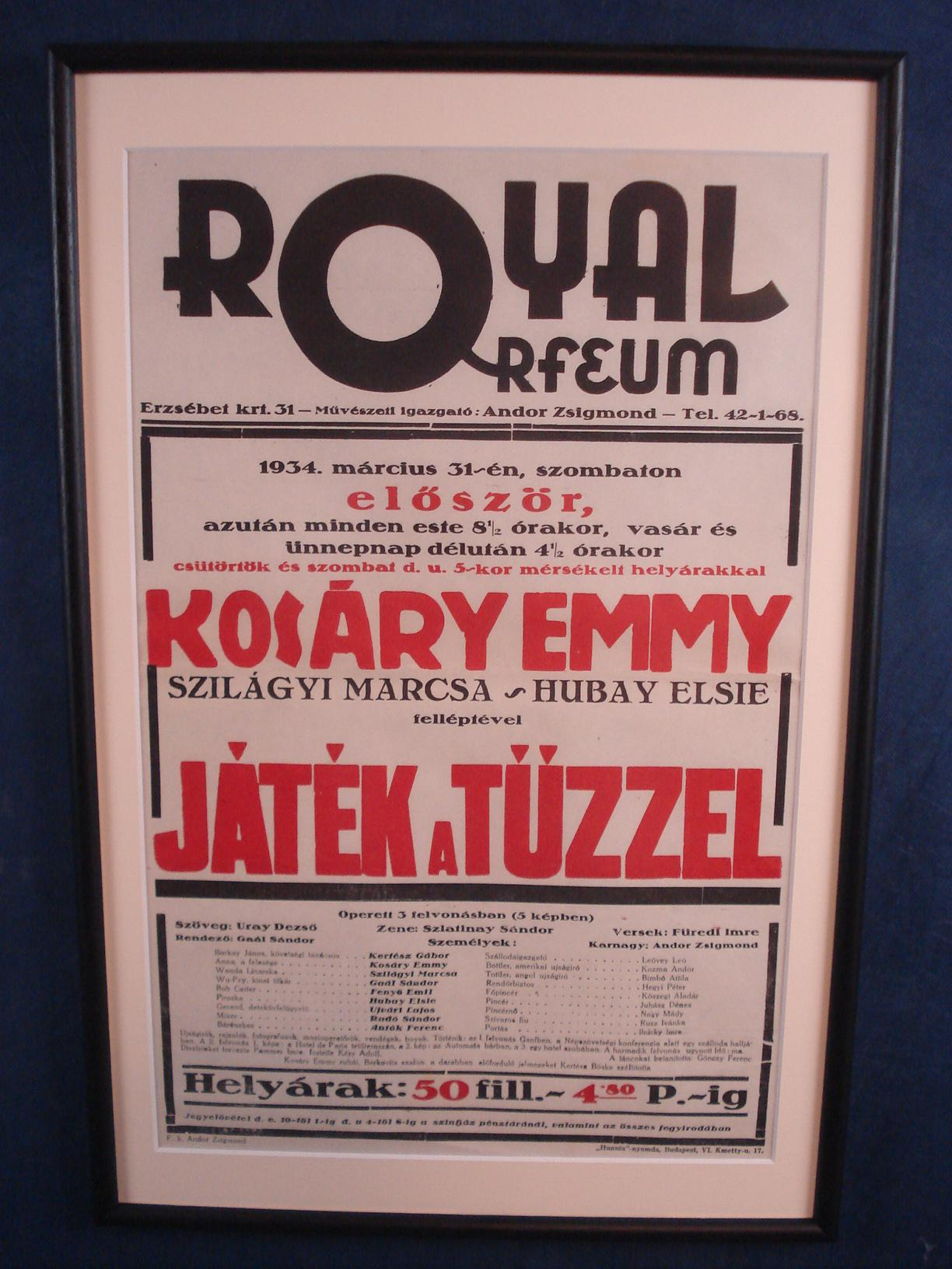 Antik plakát - Royal Orfeum 1934
